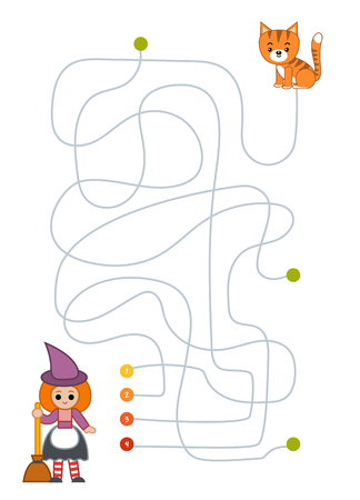 Maze game for children, education worksheet. Witch and Cat