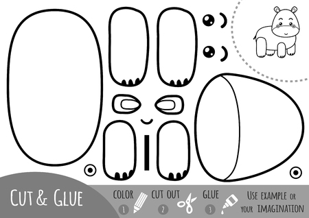 Education paper game for children, Hippo. Use scissors and glue to create the image.