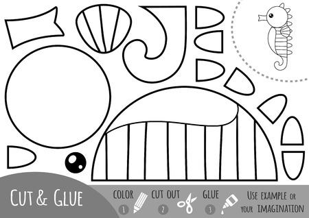 Education paper game for children, Sea horse. Use scissors and glue to create the image. Vektorgrafik