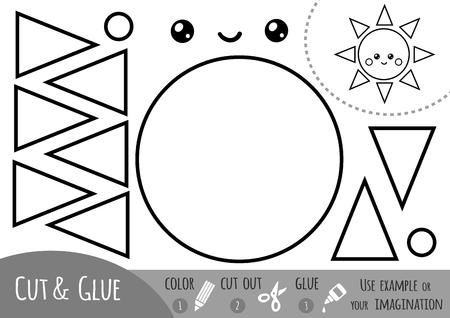 Bildungspapierspiel für Kinder, Sonne. Verwenden Sie Schere und Kleber, um das Bild zu erstellen. Vektorgrafik