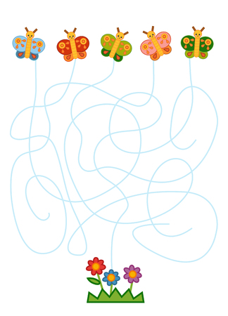 Maze game for children, education worksheet. Butterflies and flowers