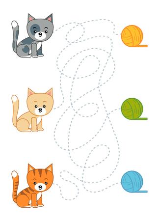 Labyrinthspiel für Kinder, Bildungsarbeitsblatt. Katze und Wollknäuel