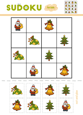 Sudoku for children, education game. Set of Christmas items - Gift, Christmas tree, bell, Santa Claus. Use scissors and glue to fill the missing elements
