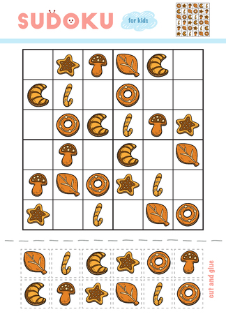 Sudoku for children, education game. Set of Christmas cookies. Use scissors and glue to fill the missing elements 矢量图像
