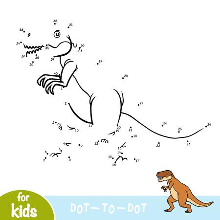 Zahlenspiel, Punkt-zu-Punkt-Bildungsspiel für Kinder, Tyrannosaurus Vektorgrafik