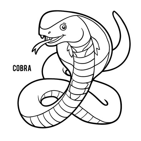Coloring book for children, Cobra 向量圖像