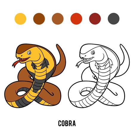 Coloring book for children, Cobra Illustration