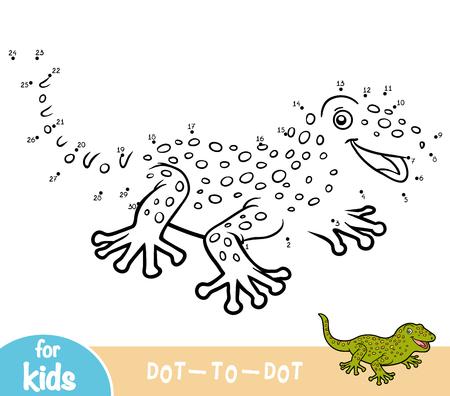 Gioco di numeri, gioco educativo punto per punto per bambini, Gecko