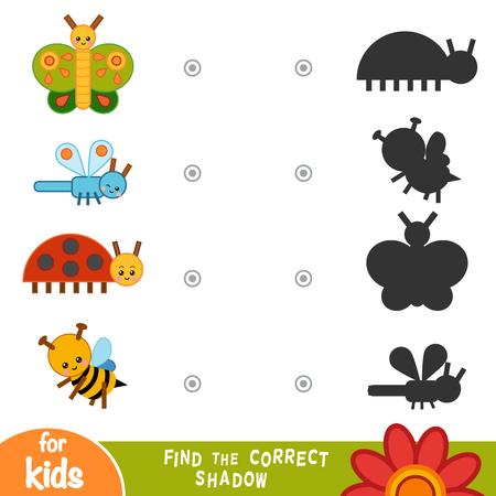 Finden Sie das richtige Schatten-Bildungsspiel für Kinder. Sammlung von Insekten - Biene, Schmetterling, Marienkäfer und Libelle Vektorgrafik