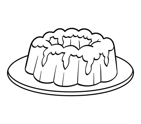 Coloring book for children, Cake Vectores