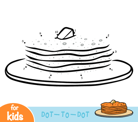 Numbers game, education dot to dot game for children, Pancakes Illustration
