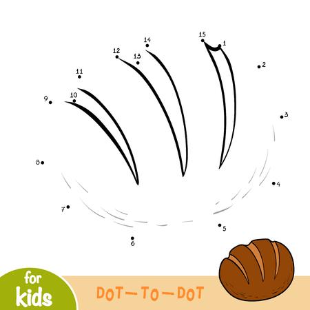 Gra liczbowa, edukacja kropka-kropka dla dzieci, chleb