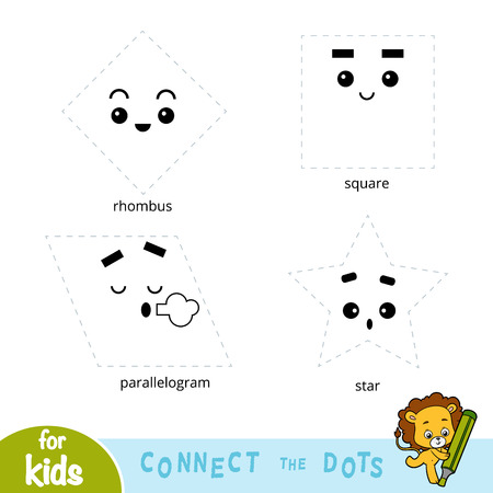 Connect the dots, education game about geometric shapes Vector Illustration