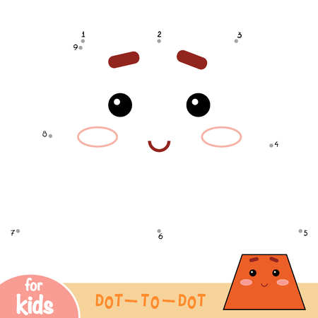 Numbers game, education dot to dot game for children. Geometric shape Trapezoid