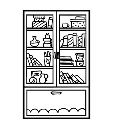 Coloring book for children, Bookcase with glass-doors