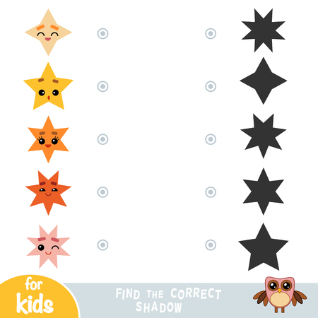 Find the correct shadow, education game for children. Geometric shapes - stars