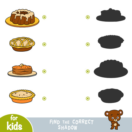 Find the correct shadow, education game for children. Set of food - Pancakes, Cake, Pie Illustration