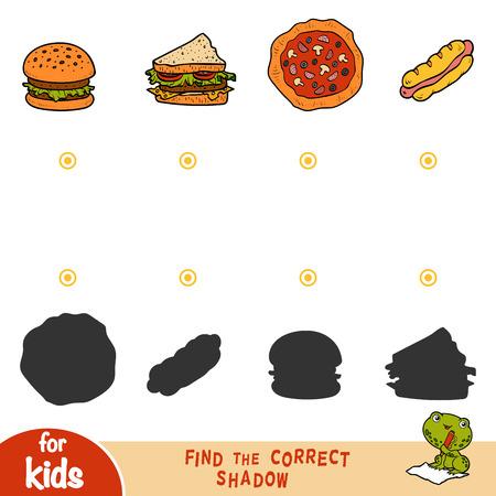 Trova l'ombra corretta, gioco educativo per bambini. Set di cibo - Hot dog, Burger, Pizza, Sandwich Vettoriali