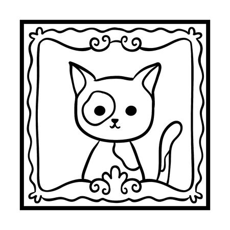 Coloring book for children, Framed cat photo