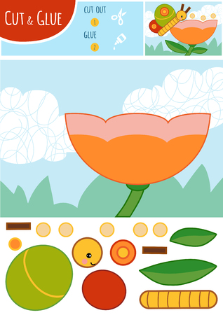 Education paper game for children. The butterfly and flower. Use scissors and glue to create the image. Vektorgrafik