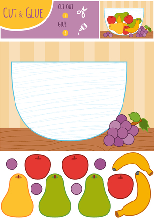 Education paper game for children, Fruit bowl. Use scissors and glue to create the image.