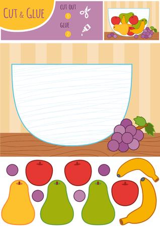 Jeu de papier éducatif pour enfants, bol de fruits. Utilisez des ciseaux et de la colle pour créer l'image.