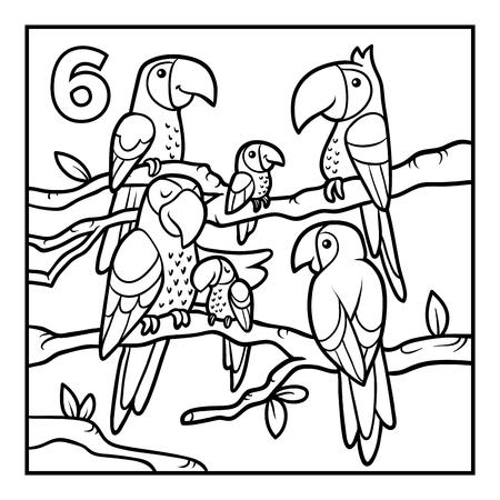 Coloring book for children, Six parrots