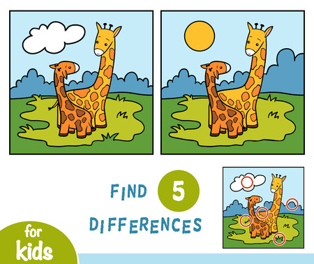 Find differences, education game for children, Two giraffes