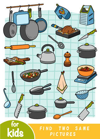 Find two the same pictures, education game for children. Color set of kitchen objects