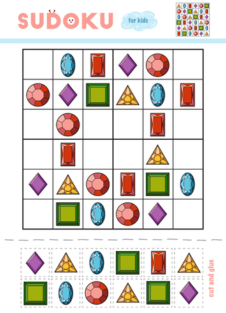 Sudoku for children, education game. Set of gemstones. Use scissors and glue to fill the missing elements