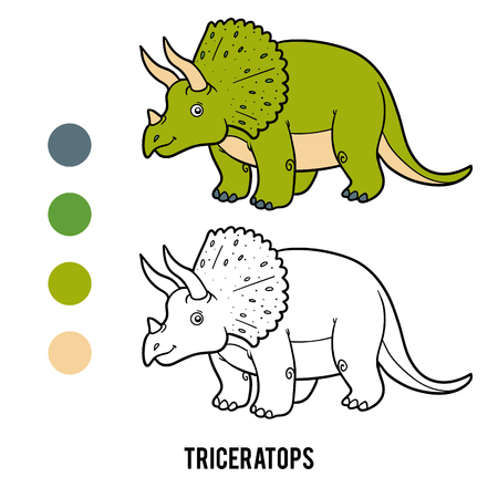 Coloring book for children, Triceratops