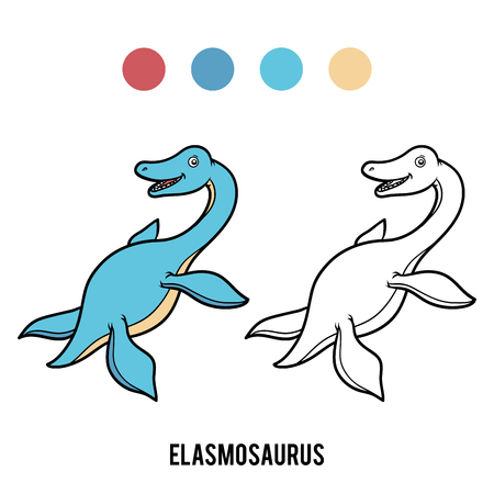 Coloring book for children, Elasmosaurus