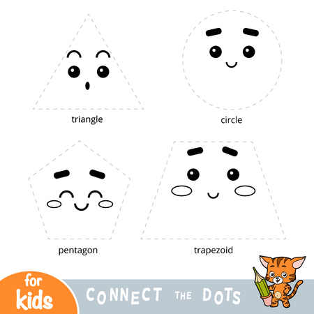 Connect the dots, education game about geometric shapes Illustration