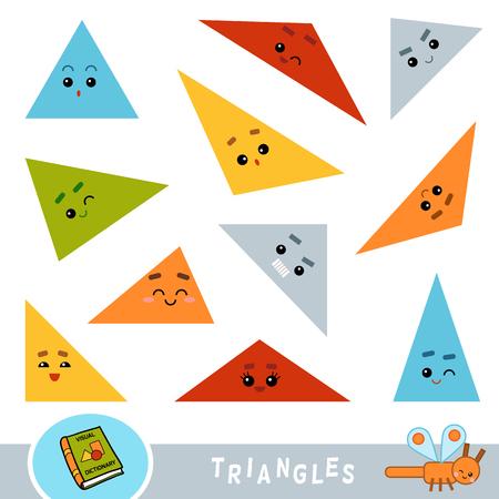 Kolorowy zestaw trójkątów. Słownik wizualny dla dzieci o geometrycznych kształtach.