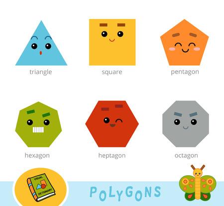 Bunte Reihe von Polygonen. Visuelles Wörterbuch für Kinder über geometrische Formen Vektorgrafik