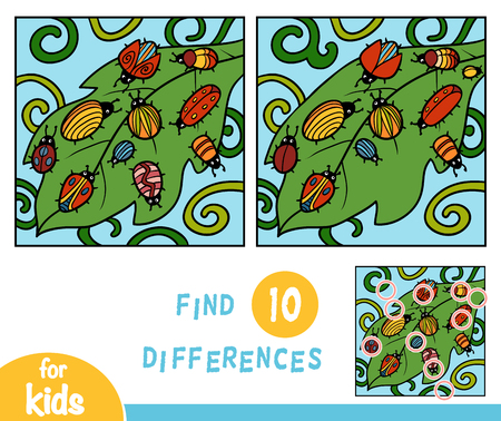 Find differences, education game for children, Ten bugs Vettoriali