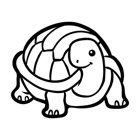Coloring book for children, Tortoise 矢量图像