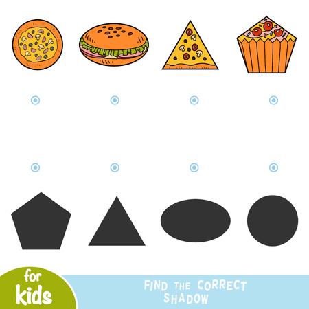 Trouvez la bonne ombre, jeu éducatif pour enfants, ensemble de nourriture - pizza, hamburger, cupcake
