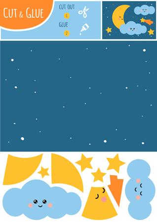 Bildungspapierspiel für Kinder, Nachthimmel mit Mond und Sternen. Verwenden Sie Schere und Kleber, um das Bild zu erstellen.