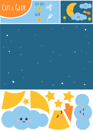 Education paper game for children, Night sky with moon and stars. Use scissors and glue to create the image. Illustration