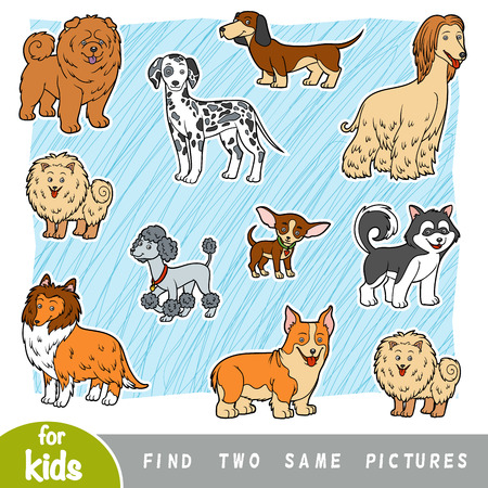 Find two the same pictures, education game for children. Set of cartoon dogs