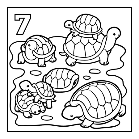 Coloring book for children, Seven tortoises 写真素材 - 113442792