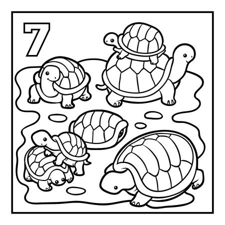 Libro de colorear para niños, siete tortugas Ilustración de vector