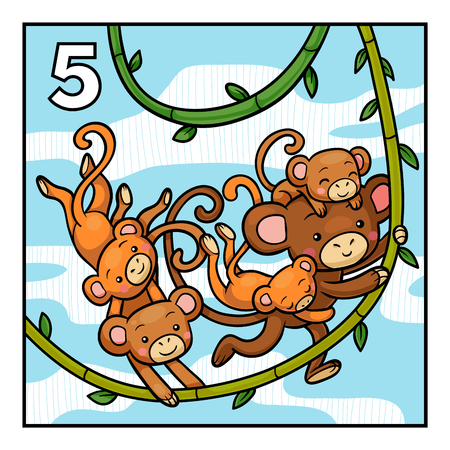 Cartoon vector illustration for children. Learn to count with animals, five monkeys Ilustração