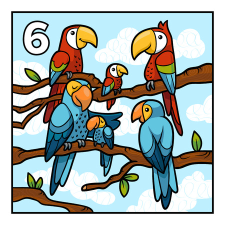 Cartoon vector illustration for children. Learn to count with animals, six parrots