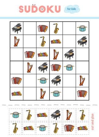 Sudoku para niños, juego educativo. Instrumentos musicales: saxofón, xilófono, acordeón, piano de cola, arpa de pedal, batería. Usa tijeras y pegamento para rellenar los elementos que faltan. Ilustración de vector