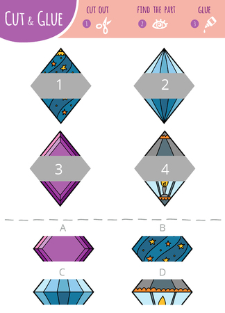 Find the right part. Education cut and glue game for children. Cartoon set of geometric shapes. Rhombus. Vector Illustratie