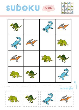 Sudoku for children, education game. Set of dinosaurs - Elasmosaurus, Pteranodon, Triceratops, Spinosaurus. Use scissors and glue to fill the missing elements Ilustracja