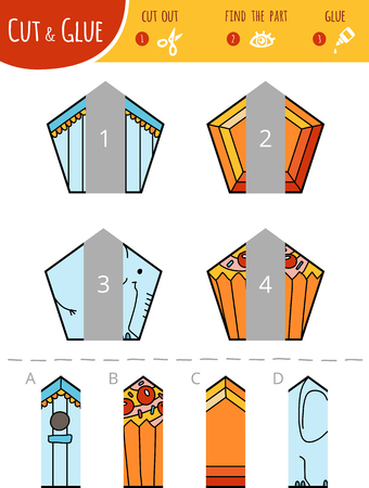 Find the right part. Cut and glue game for children. Cartoon set of geometric shapes. Pentagons.