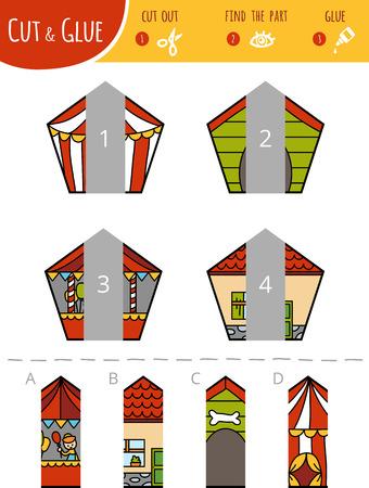 Trouvez la bonne pièce. Jeu de découpe et de colle pour les enfants. Ensemble de dessins animés de formes géométriques. Pentagones.